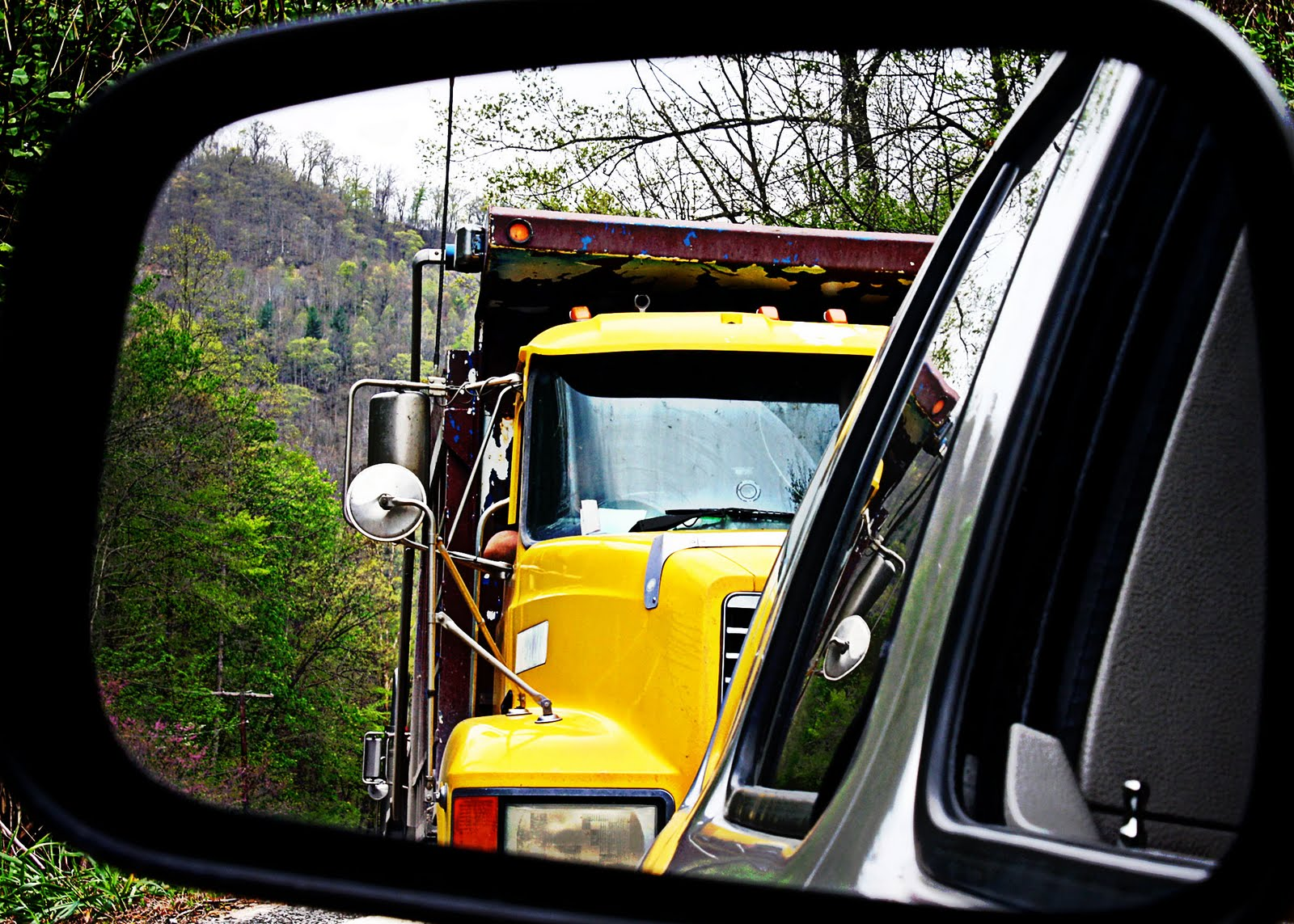 truck in the mirror